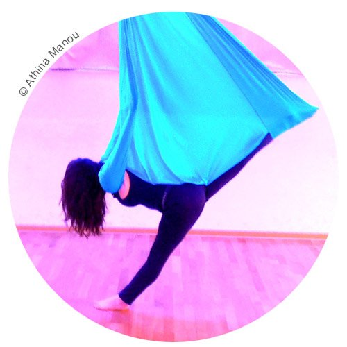 Medium image of aerial yoga slings are rigged from a single point and are
